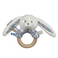 Tiamo Chrastící zajíček s dřevěným kroužkem Blue