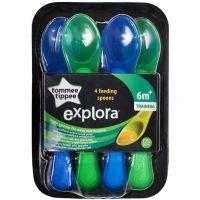 Tomme Tippee Explora Lžičky na krmení 4ks Zelené-modré