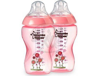 Tommee Tippee Kojenecká láhev s obrázky 2 x 340 ml - Růžová