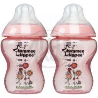 Tommee Tippee Kojenecká láhev s obrázky C2N 2x260ml - Růžová