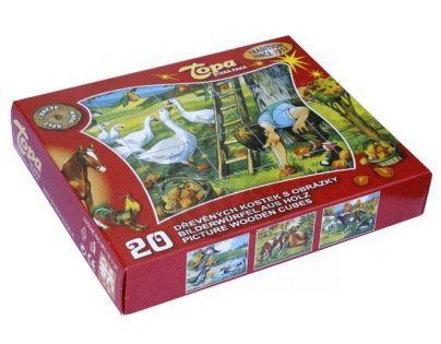 TOPA 33202 - Kostky dřevěné Domácí zvířátka 20 ks