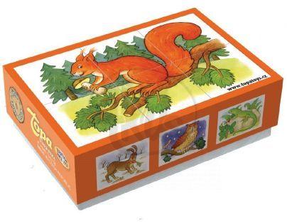 Topa Kostky dřevěné Lesní zvířátka 6 ks