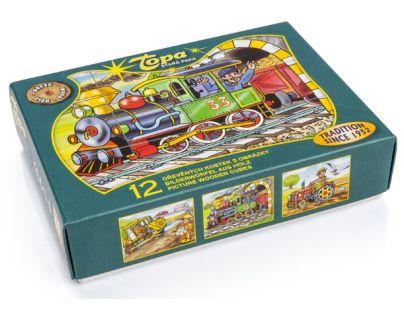 Topa 30213 - Kostky dřevěné Mašinka 12ks