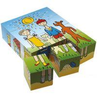 TOPA 30206 - Kostky dřevěné Pejsek a kočička 12 ks 2