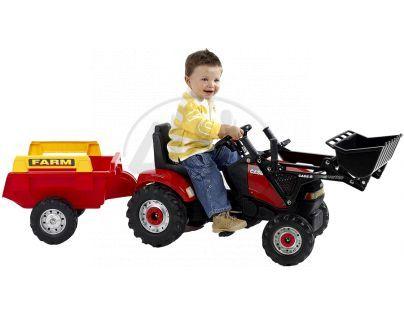 Traktor CASE nakladač červený + přívěs