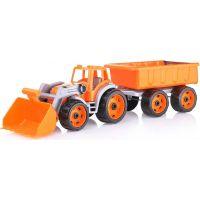 Traktor s přední lžící a vlekem oranžový