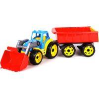 Traktor s přední lžící a červeným vlekem modrý