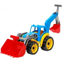 Traktor s 2 prednými lyžicami modrý