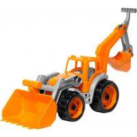 Traktor s 2 prednými lyžicami oranžový