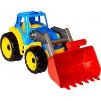 Traktor s přední lžící oranžový modrý