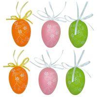 Anděl Vajíčka plastová na zavěšení 6 cm 6 ks v sáčku barevná