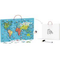 Viga Dřevěná mapa světa s tabulí