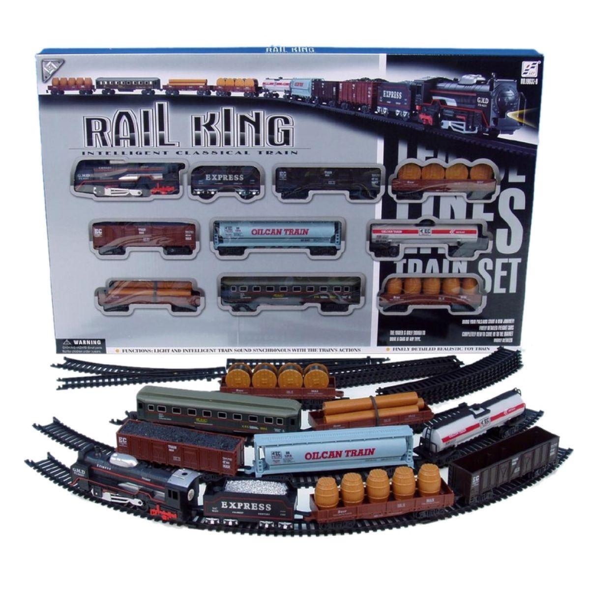 Vláček 9 vagónků s kolejemi 122x68cm