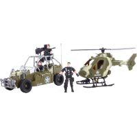 Vojenská sada s autem, vrtulníkem a třemi vojáky