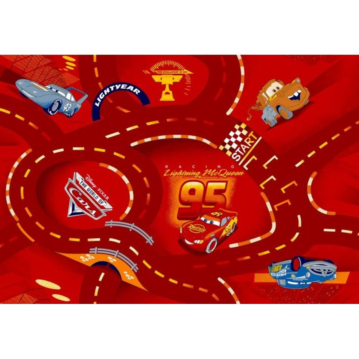 Vopi Cars koberec červený 200 x 200 cm