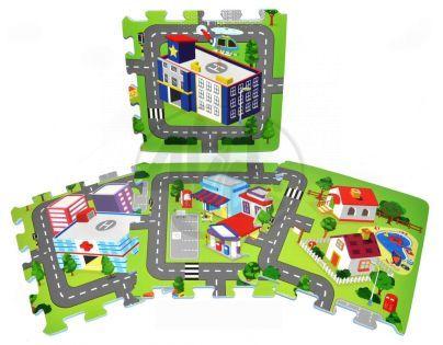 Wiky 118632 - Pěnové puzzle Město 32x32cm 9ks