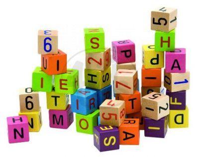 Woody 90644 - Barevné kostky s písmeny  a čísly, 40ks