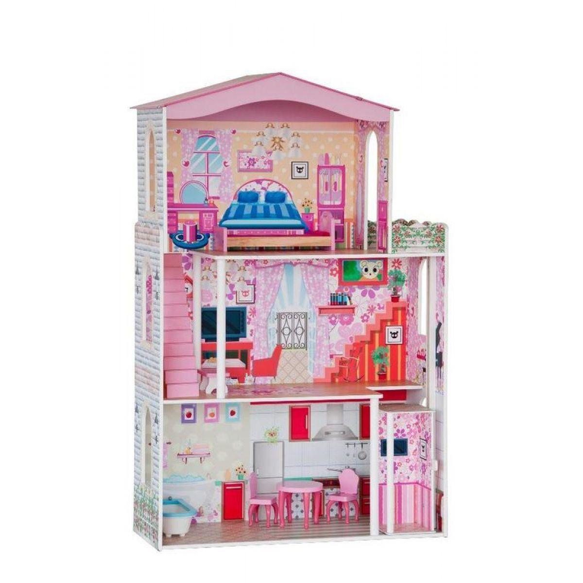 Woody dřevěný s výtahem velký pro panenky 7 ks nábytku barbie