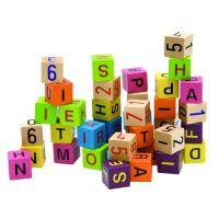 Woody Barevné kostky s písmeny a čísly 40 ks