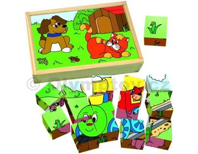 Woody Dřevěné kostky Kubus Mašinka