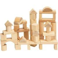 Woody Stavebnice kostky přírodní v kartonu 50 dílů