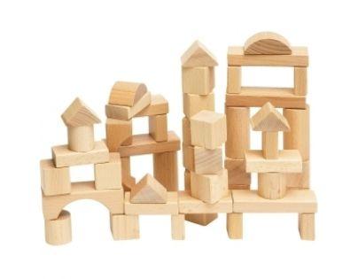 Woody 90650 - Stavebnice kostky přírodní v kartonu, 50 dílů