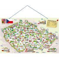 Woody Magnetická mapa ČR s obrázky a společenská hra 3 v 1