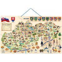 Woody Magnetická mapa Slovenska s obrázky a společenská hra 3v1