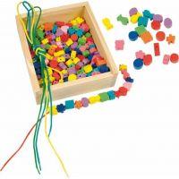 """Woody 90267 - Dřevěná krabička """"Navlékací perle"""" (200 perlí)"""