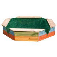 Woody Dřevěné pískoviště s plachtou