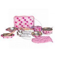Woody 91315  - Růžové nádobí s chňapkou Trendy (16kusů)