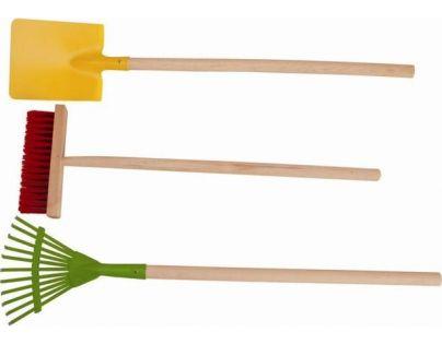 Woody Sada zahradního nářadí - koště, hrábě, lopata