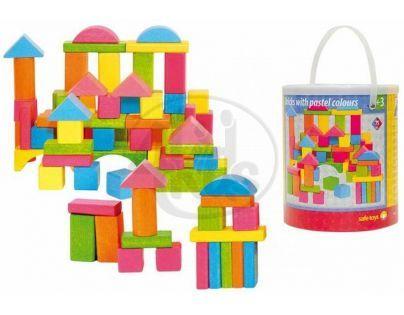 Woody Stavebnice kostky barevné - pastelové 75 ks