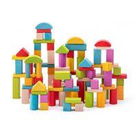Woody Stavebnice Kostky přírodní a barevné 100 ks