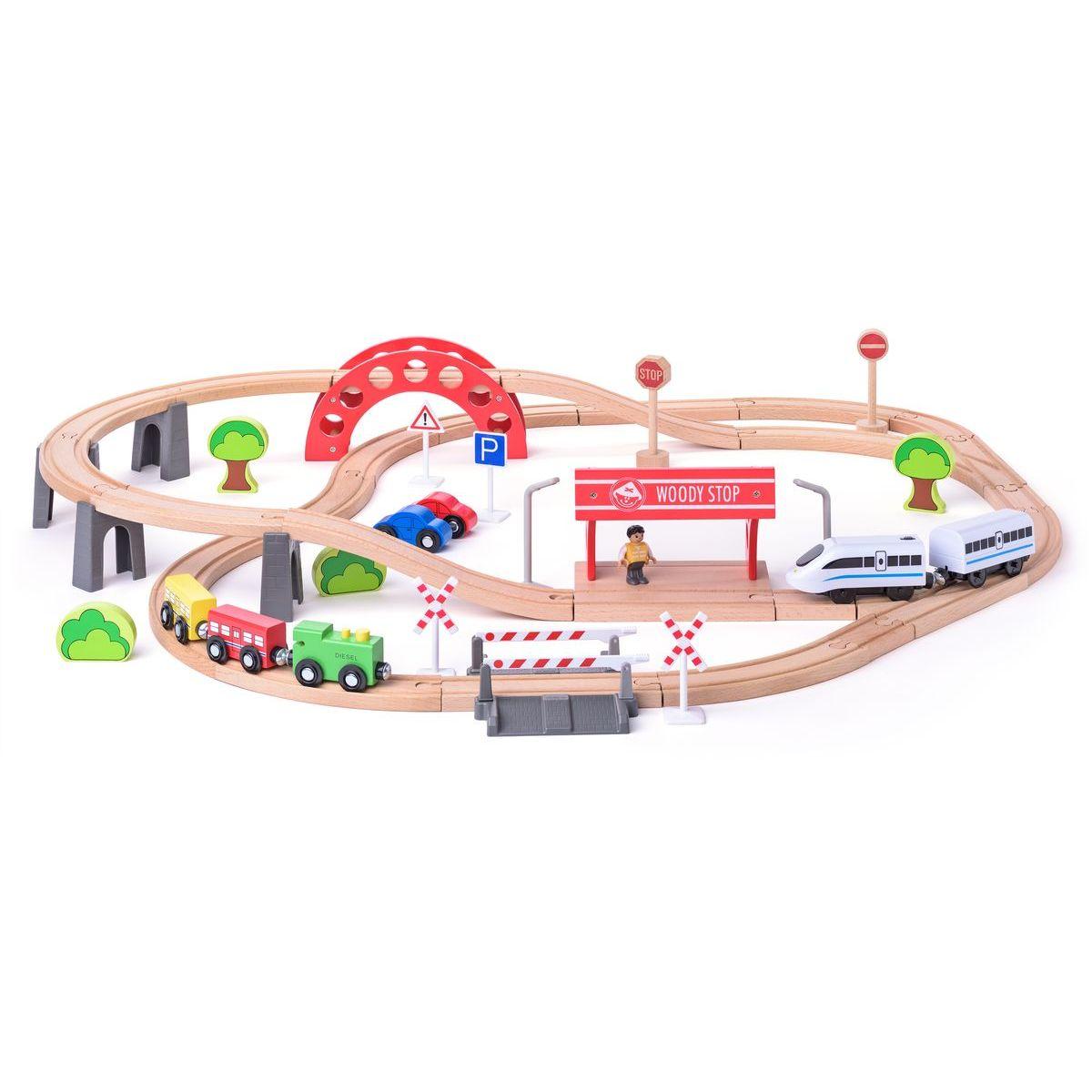 Woody Vláčkodráha s elektrickou mašinkou a viaduktem 60 dílů