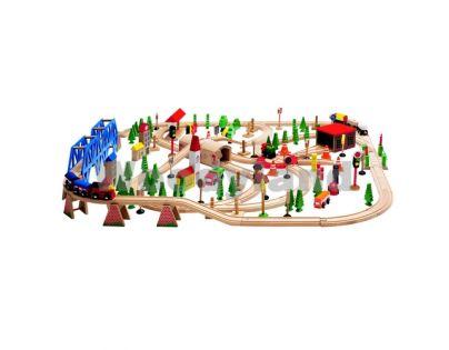 """Woody 90578 - Vláčkodráha """"Super Train"""" v dřevěné krabici, 170 dílů"""