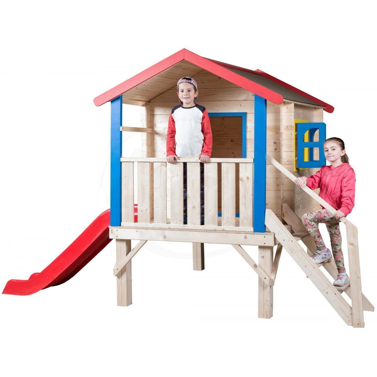 Woody Zahradní domek s podestou, zábradlím a klouzačkou