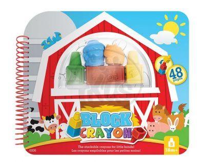 Wooky Block Crayon Omalovánky farma 5ks pastelek