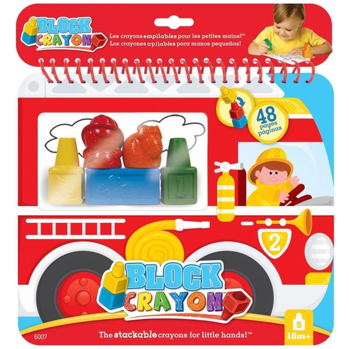 Wooky block Crayon Omalovánky hasiči 5ks pastelek