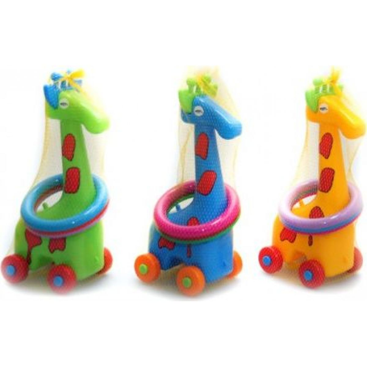 Toy Žirafa plastová s kroužky na kolečkách - modrá