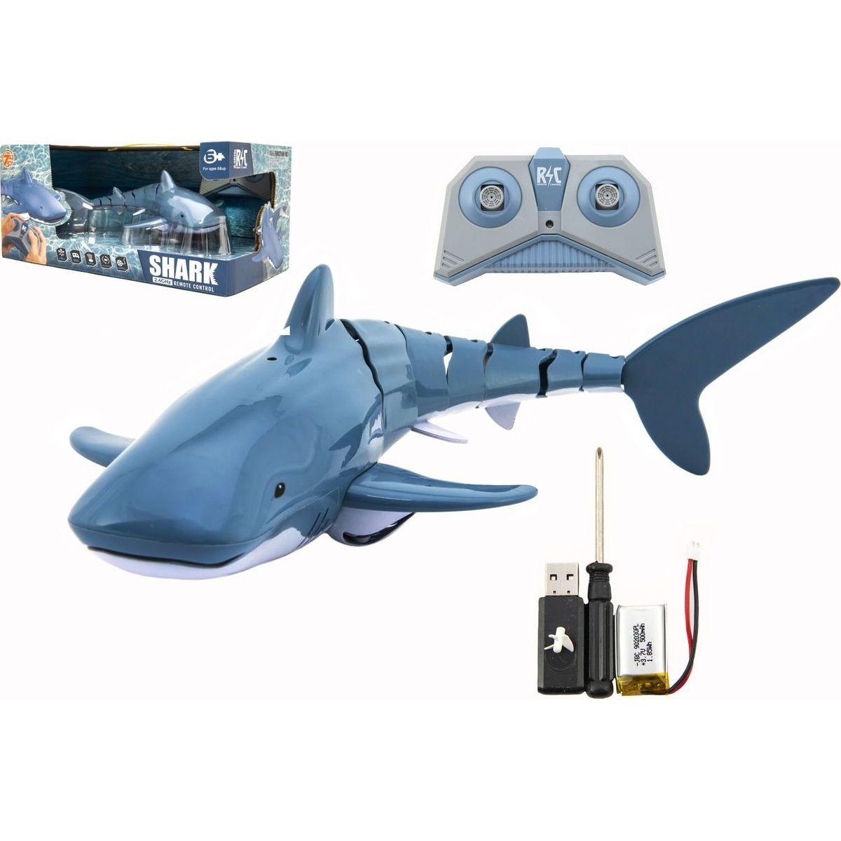 Žralok RC plast 35 cm na diaľkové ovládanie a dobíjací pack