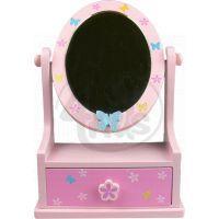 Zrcadlo dřevěné, ovál se zásuvkou - Motýlek