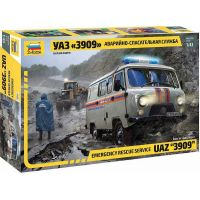 Zvezda Model Kit auto Emergency Service UAZ 3909 1:43