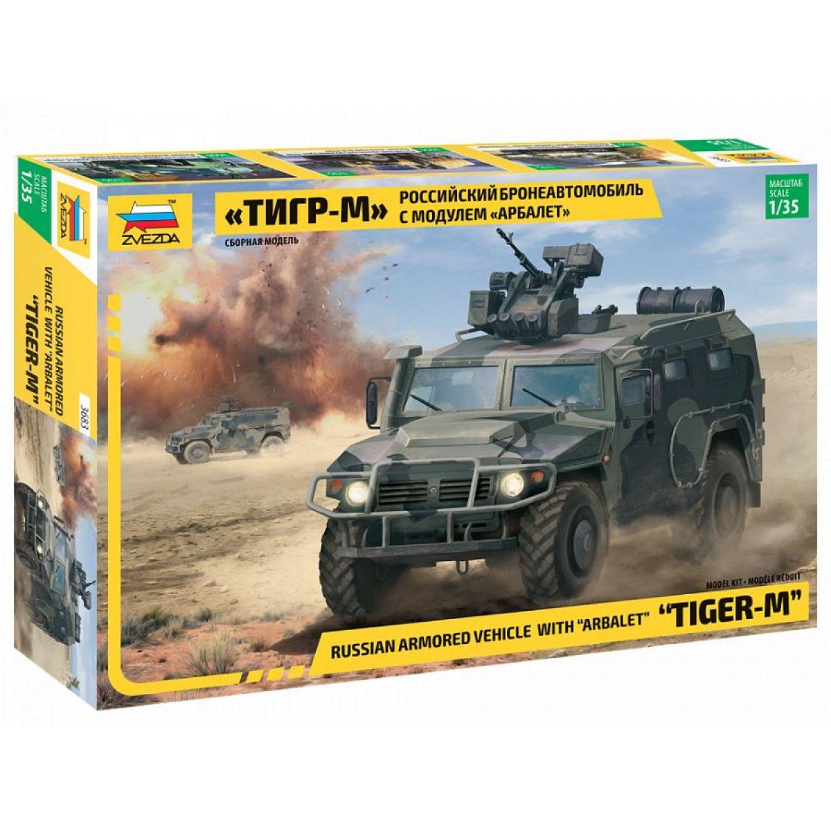 Zvezda Model Kit military GAZ Tiger w Arbalet 1:35