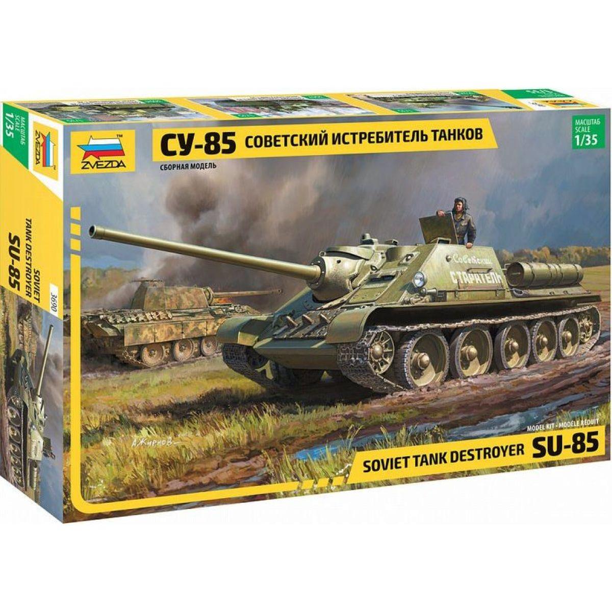 Zvezda Model Kit military SU-85 Soviet Tank Destroyer 1:35