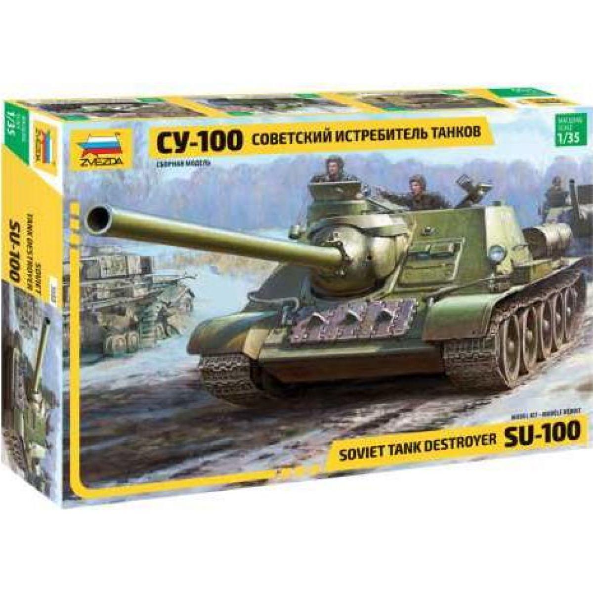 Zvezda Model Kit tank Soviet S.P.Gun SU-100 new molds 1:35